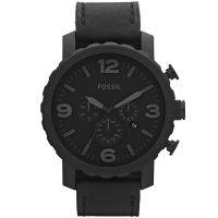 Fossil Uhr Nate JR1354 Herrenuhr XXL Chronograph Black Leder Watch NEU & OVP