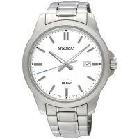 Seiko Uhr SUR241P1 Herren Edelstahl Weiß Silber Datum Watch Men NEU & OVP