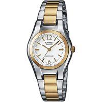 Casio Uhr LTP-1280PSG-7AEF Damen Armbanduhr Edelstahl Silber Gold Weiß NEU & OVP