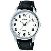 Casio Uhr MTP-1303PL-7B Herren Armbanduhr Leder Silber Schwarz Watch NEU & OVP
