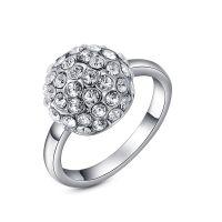 Roxy Damen Luxus Ring Diamanten Ball Weißes Kristall Silber Silver NEU & OVP
