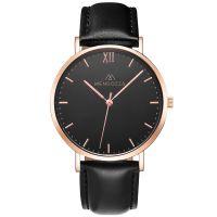 Mendozza Uhr MW-RR0304H-LN Midnight Black Armbanduhr Leder Schwarz Roségold