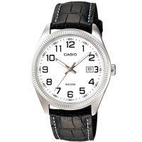 Casio Uhr MTP-1302L-7B Herren Armbanduhr Leder Weiß Schwarz Datum Watch NEU & OV