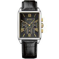 Hugo Boss Uhr 1512726 Herrenuhr Schwarz Silber Gold Leder Men Watch NEU & OVP