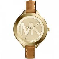 Michael Kors Uhr MK2326 Slim Gold Braun Leder B-WARE mit Gebrauchsspuren