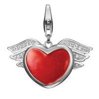 Esprit Charm ESCH90881A000 Damen Herz Flügel 925er Sterling Silber Rot NEU & OVP