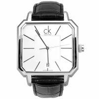 Calvin Klein Herren Uhr K1U21120 Leder Schwarz Silber Swiss Made NEU & OVP