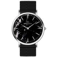 Mendozza Uhr MW-PS0104L-BM Black Marble Marmoruhr Schwarz Silber