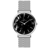 Mendozza Uhr MW-PS0104L-SM Black Marble Marmoruhr Silber