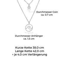 Mendozza Kette MJ-NE01751L Damen Doppelkette Silber Wellen Anhänger
