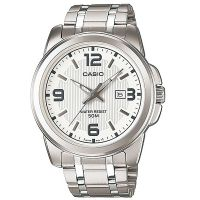 Casio Herrenuhr MTP-1314D-7A Armbanduhr Edelstahl Weiß Silber Datum NEU & OV