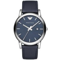 Emporio Armani Uhr AR1731 Unisexuhr Blau Schwarz Leder Men Lady Watch NEU & OVP