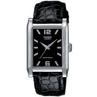 Casio Uhr MTP-1235L-1A Herren Armbanduhr Leder Schwarz Silber Watch NEU & OVP