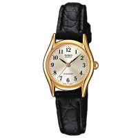 Casio Uhr LTP-1154PQ-7B2 Damen Armbanduhr Leder Gold Schwarz Watch NEU & OVP