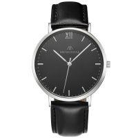 Mendozza Uhr MW-RS0104H-LN Midnight Black Armbanduhr Leder Schwarz Silber