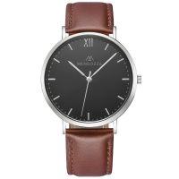 Mendozza Uhr MW-RS0104H-ON Midnight Black Armbanduhr Leder Schwarz Silber