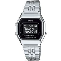 Casio Uhr LA680WA-1BDF Digitaluhr Armbanduhr Damen Silber Schwarz NEU & OVP