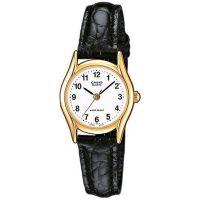 Casio Uhr LTP-1154PQ-7BEF Damen Armbanduhr Leder Gold Schwarz Watch NEU & OVP