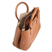 Made in Italia Handtasche Fatima Saffiano Cuoio Damen Braun Bag Women NEU & OVP