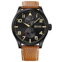 Hugo Boss Uhr 1513082 Herren Chronograph Leder Braun Edelstahl Schwarz NEU & OVP
