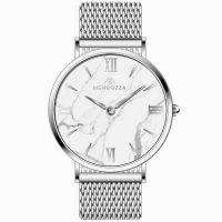 Mendozza Uhr MW-OS0100H-SM White Marble Marmor Armbanduhr Silber