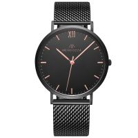 Mendozza Uhr MW-RR0404H-BM Midnight Black Armbanduhr Schwarz Roségold