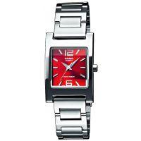 Casio Uhr LTP-1283PD-4A2 Damen Armbanduhr Edelstahl Silber Rot Watch NEU & OVP