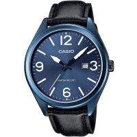 Casio Herrenuhr MTP-1342L-2B Leder Schwarz Blau Datum B-WARE mit Gebrauchsspuren