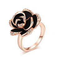 Roxy Damen Luxus Ring Schwarze Rose Weißes Kristall Emaille Roségold NEU & OVP