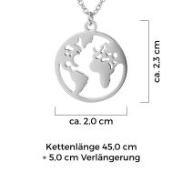 Mendozza Kette MJ-NE01760L Damen Collier Silber Weltkarte Anhänger