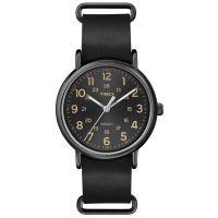 Timex Uhr T2P494 WEEKENDER 40 Herren Damen Leder Schwarz Braun Watch NEU & OVP