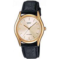 Casio Uhr MTP-1154PQ-7A Herren Armbanduhr Leder Schwarz Gold Watch Men NEU & OVP
