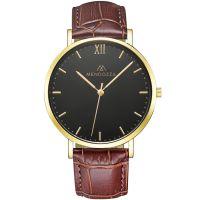 Mendozza Uhr MW-RG0204H-OK Midnight Black Armbanduhr Leder Braun Gold