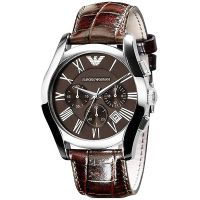 Emporio Armani Uhr AR0671 Herren Chronograph Braun Silber Leder Watch  NEU & OVP