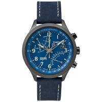 Timex Uhr T2P380 IQ FLY-BACK Intelligent Herren Chronograph Leder Blau NEU & OVP