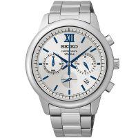 Seiko Uhr SSB145P1 Herrenuhr Chronograph Silber Blau Edelstahl  Watch NEU & OVP