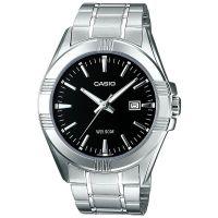 Casio Uhr MTP-1308PD-1AVEF Herren Edelstahl Silber Schwarz Datum Watch NEU & OVP
