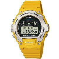 Casio Digitaluhr W-214H-9A Armbanduhr Herren Damen Gelb Silber Schwarz NEU & OVP