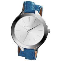 Michael Kors Uhr MK2331 Damenuhr Silber Blau Double Wrap Leder Armband NEU & OVP