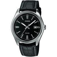 Casio Herrenuhr MTP-1302L-1A Armbanduhr Leder Silber Schwarz watch men NEU & OVP