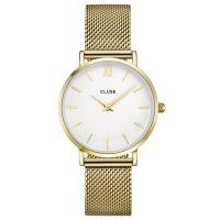 Cluse Uhr CL30010 Minuit Damen Mesharmband Gold Weiß White NEU & OVP