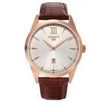 Cerruti 1881 Uhr CRA066C213A Herrenuhr Leder Roségold Braun Watch NEU & OVP