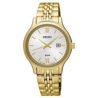 Seiko Uhr SUR704P1 Damen Edelstahlarmband Gold Silber Datum Watch NEU & OVP