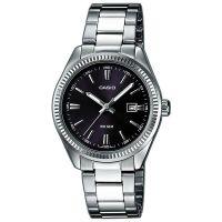 Casio Uhr LTP-1302PD-1A1VEF Damen Armbanduhr Edelstahl Silber Schwarz NEU & OVP