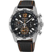 Seiko Uhr SSB135P1 Herrenuhr Chronograph Schwarz Leder Datum Watch NEU & OVP