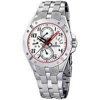 Festina Uhr F16389/1 Herren Silber Weiß Rot Edelstahl Men Watch NEU & OVP