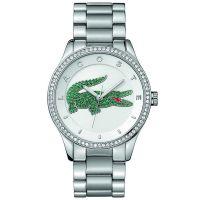 Lacoste Uhr 2000889 Damenuhr Silber Edelstahl Strass Watch NEU & OVP