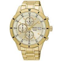 Seiko Uhr SKS592P1 Herrenuhr Chronograph Gold Weiß Edelstahl Datum NEU & OVP