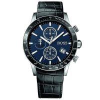 Hugo Boss Uhr 1513391 Herren Chronograph Leder Schwarz Edelstahl Blau NEU & OVP