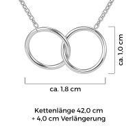 Mendozza Kette MJ-NE01345L Damen Collier Silber Doppelring Anhänger